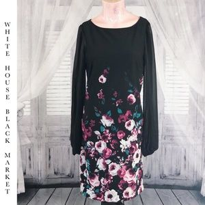 WHBM Black Floral Shift Dress, Size 4